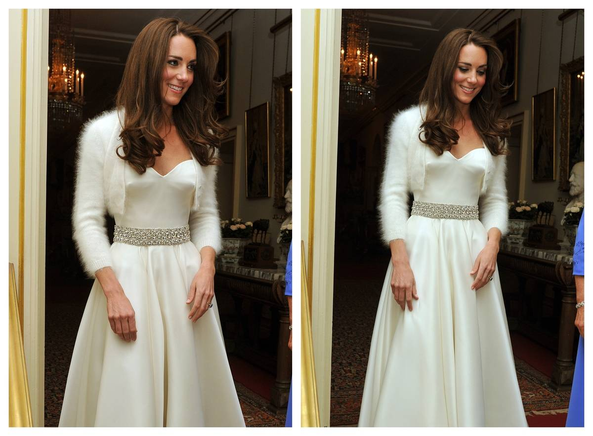Kate Middleton heads to her wedding celebrations in her reception dress.