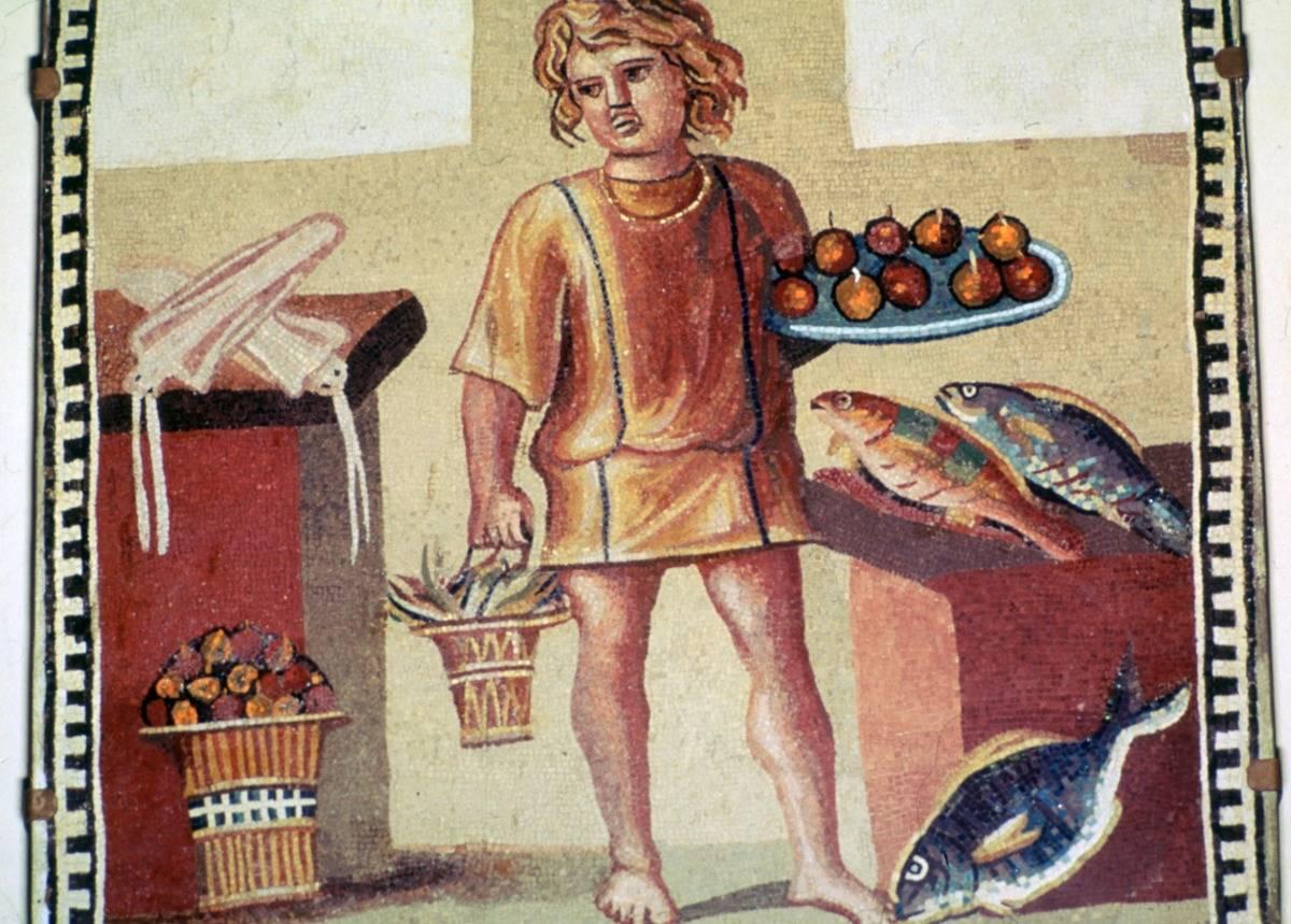 Roman mosaic of a slave boy in a kitchen.