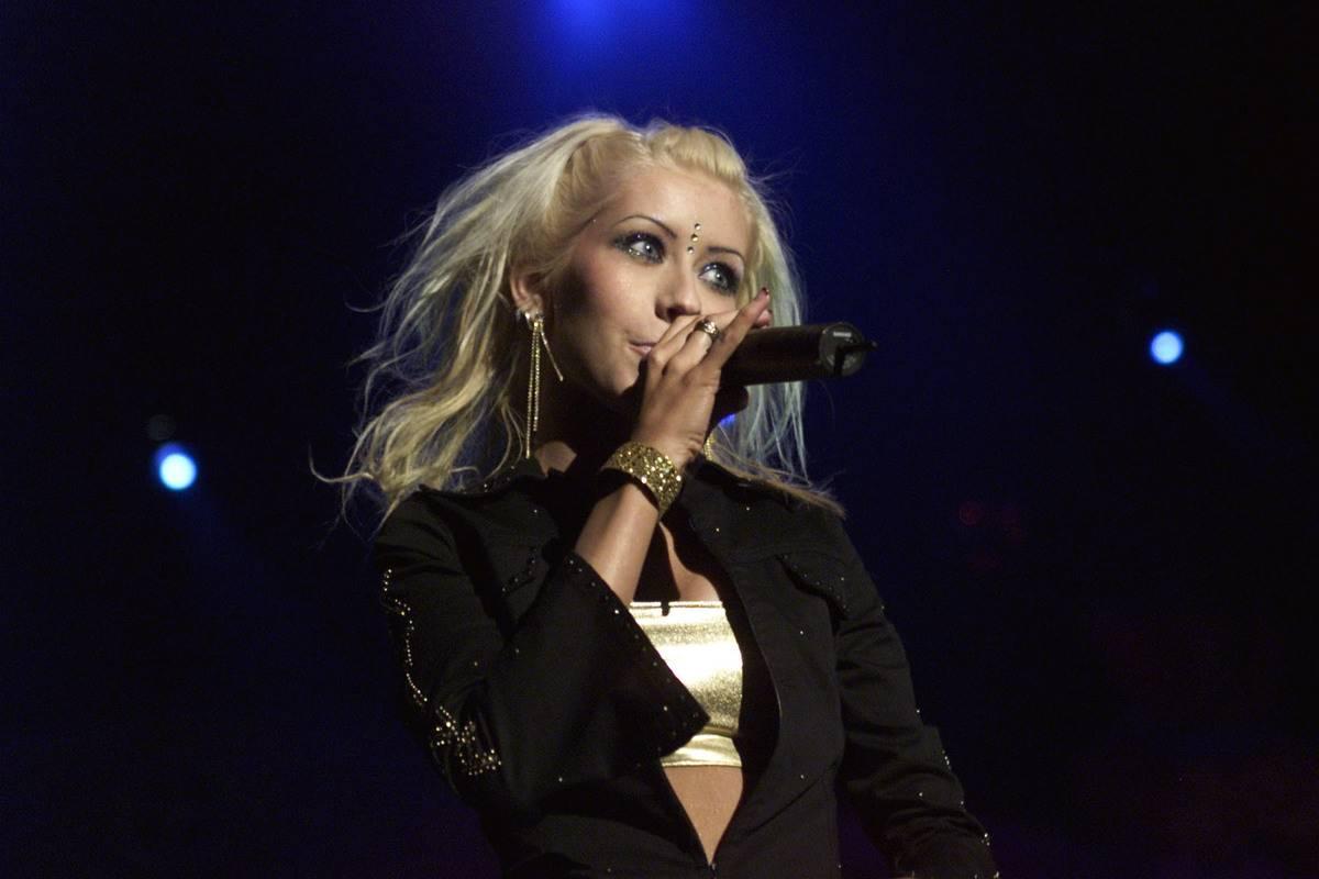Christina Aguilera performs at the KIIS Jingle Ball concert.