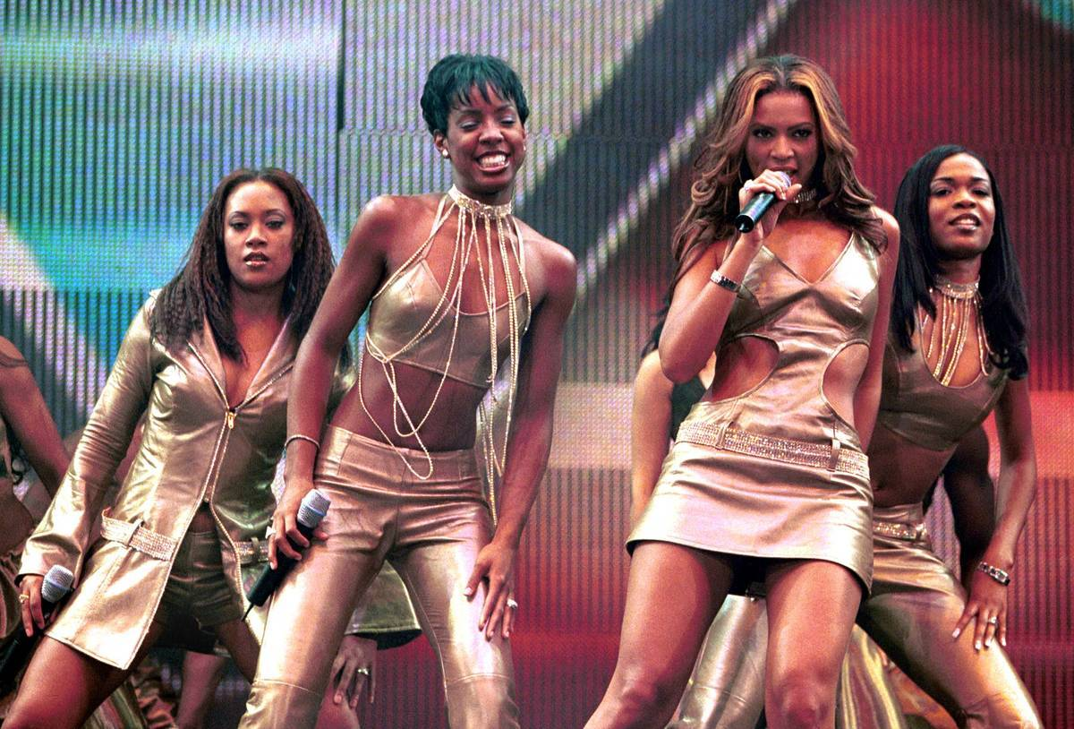 Destiny's Child perform live on stage at the TMF Awards.