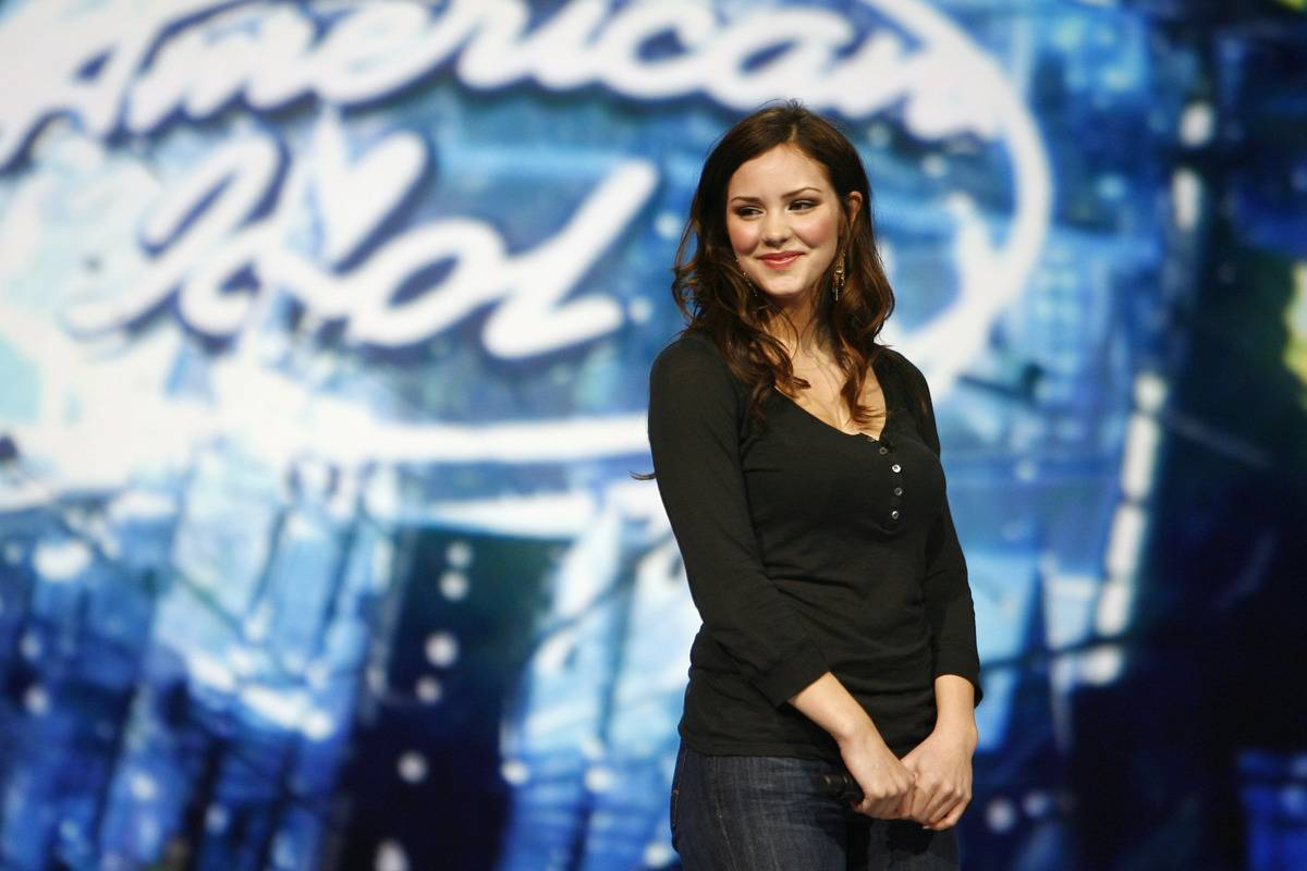 Katharine McPhee stands on the American Idol stage as a finalist.