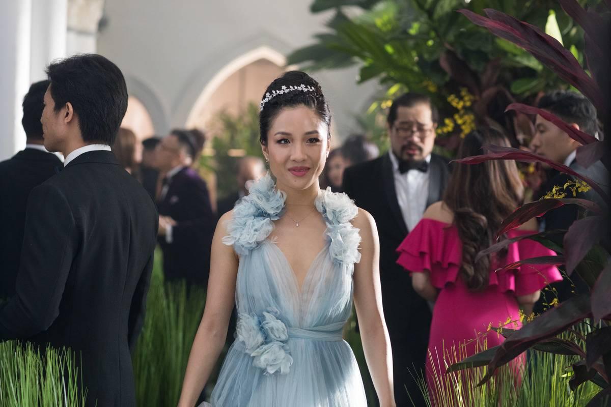 Constance Wu in a blue dress in crazy rich asians