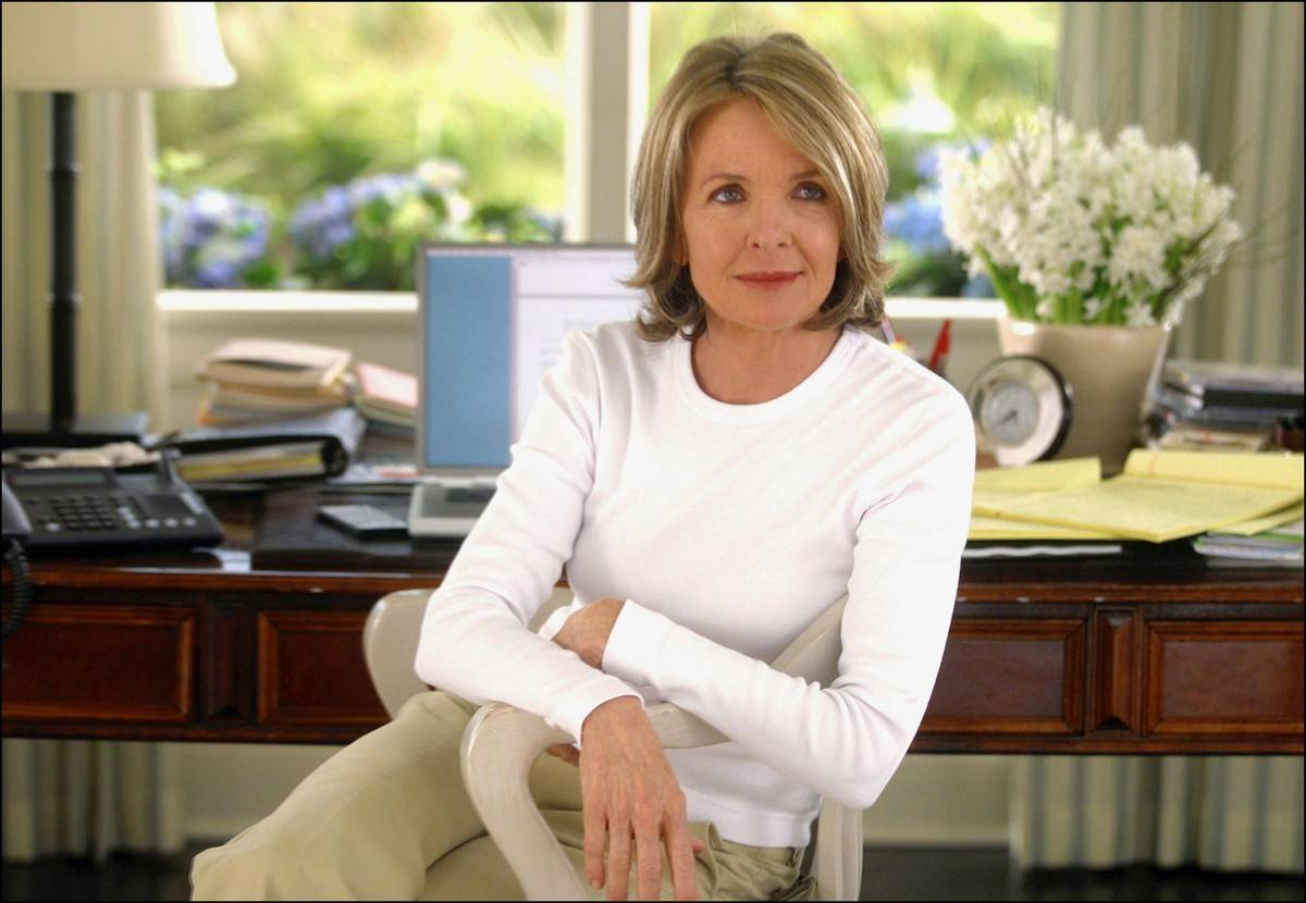 Diane Keaton sitting at a desk in something's gotta give