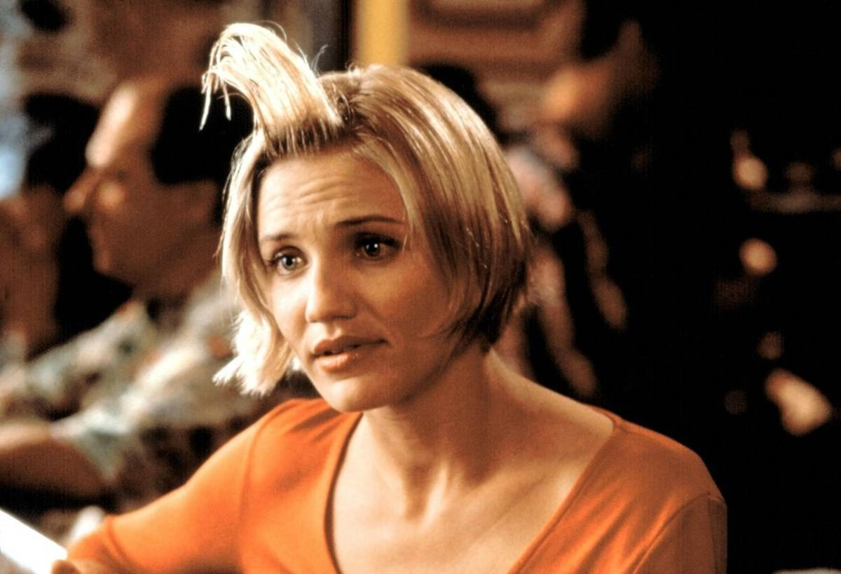 Cameron Diaz with her hair sticking up in there's something about mary