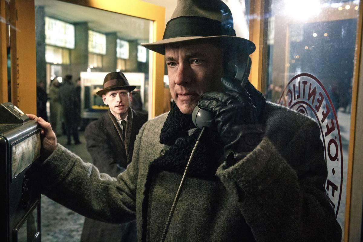 tom hanks talking on an old telephone in bridge of spies