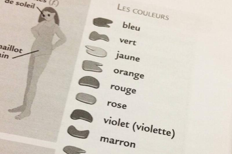A French textbook labels the colors, but it was printed in black and white.