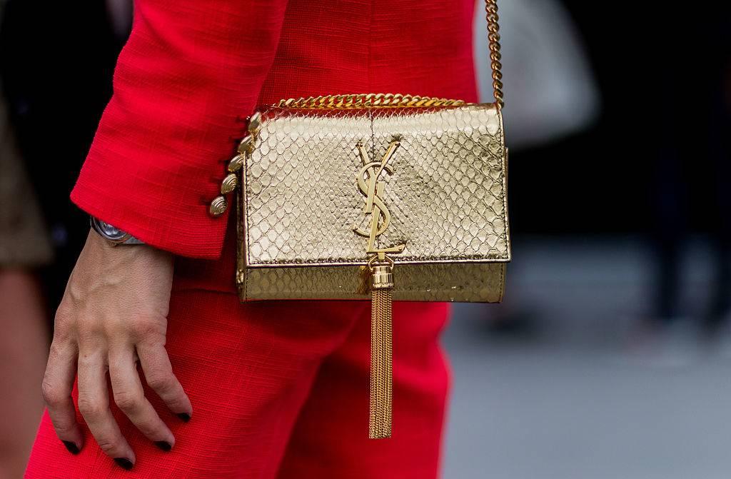 A golden Yves Saint Laurent bag