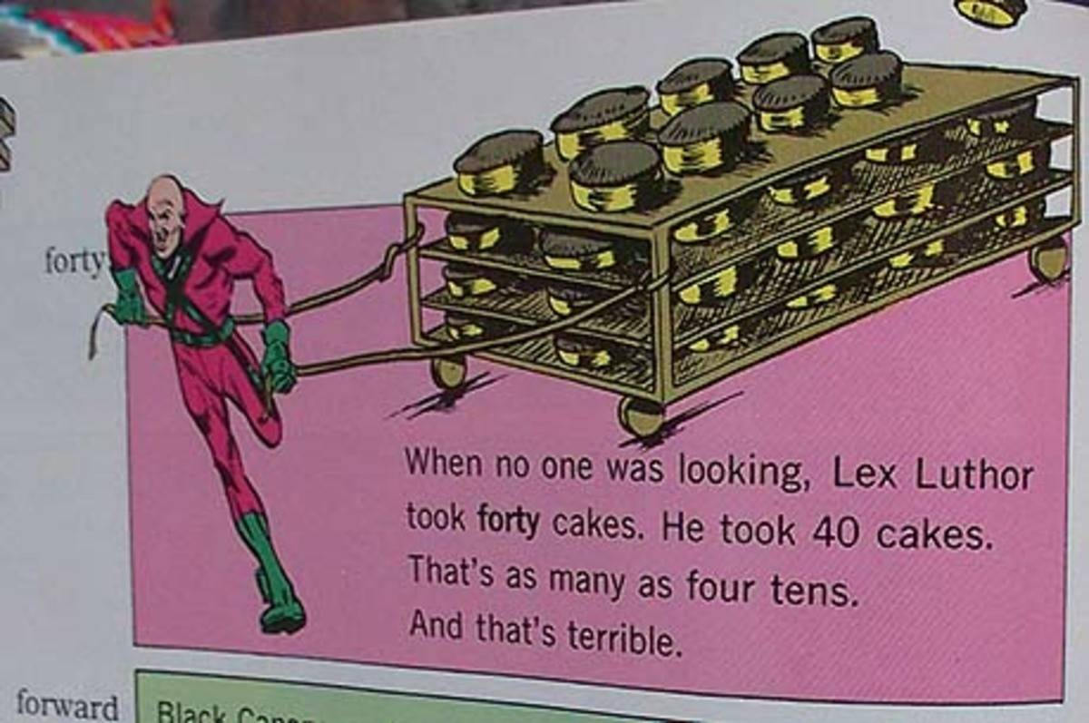 A textbook details how Lex Luthor stole 40 cakes.