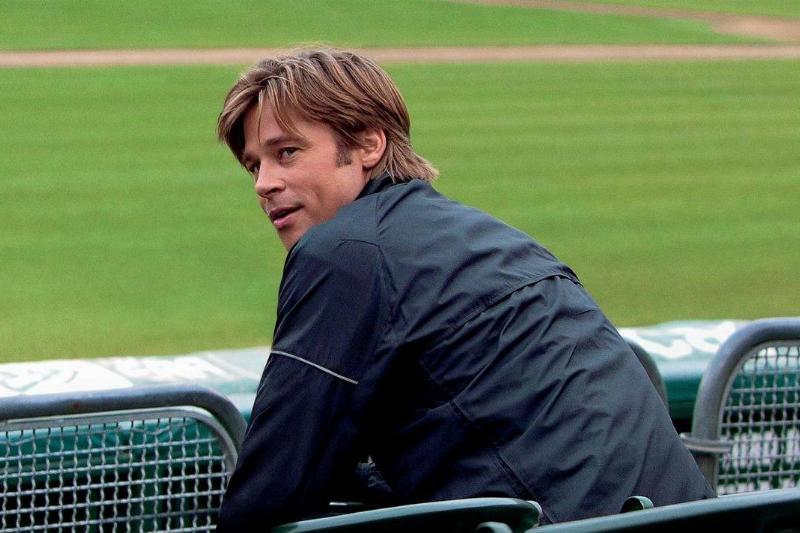 Brad Pitt at a baseball field in Moneyball