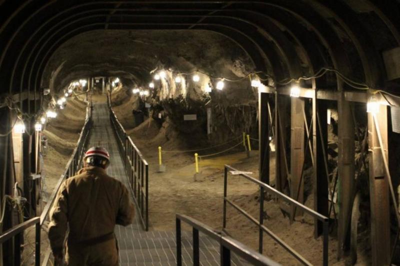 A scientist walks through a research tunnel in Fairbanks, AK.