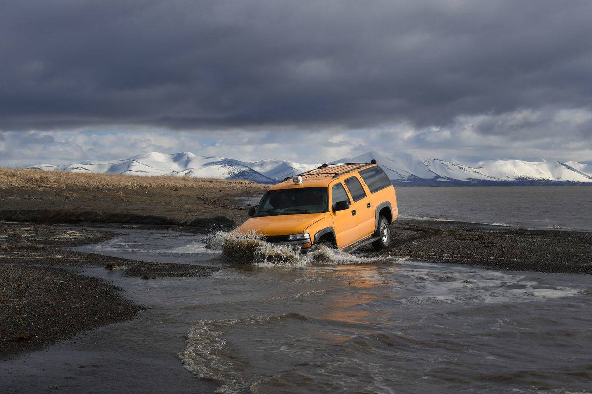 A vehicle that drove beside melting permafrost fell into the water.