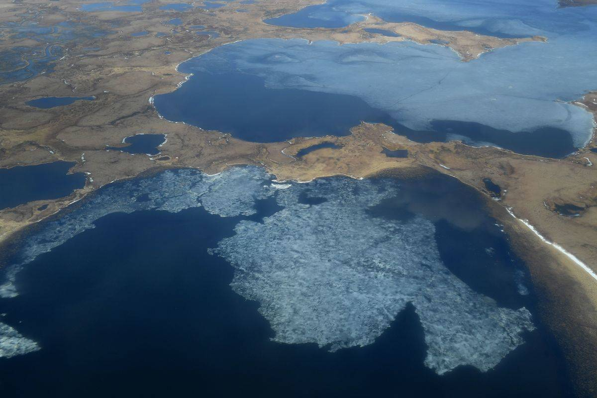 An aerial view shows the melting permafrost from climate change in Alaska.