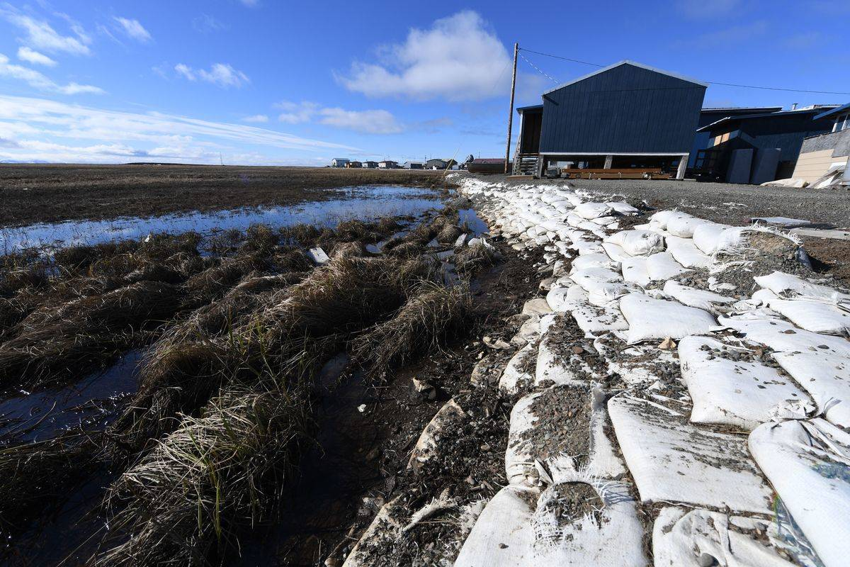 On the left, melted permafrost has destroyed the ground's structure.