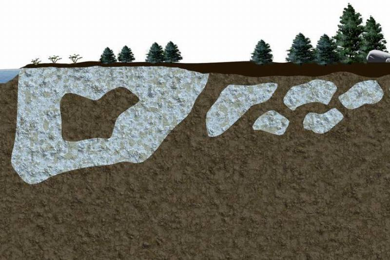 A diagram shows layers of permafrost underneath the ground.