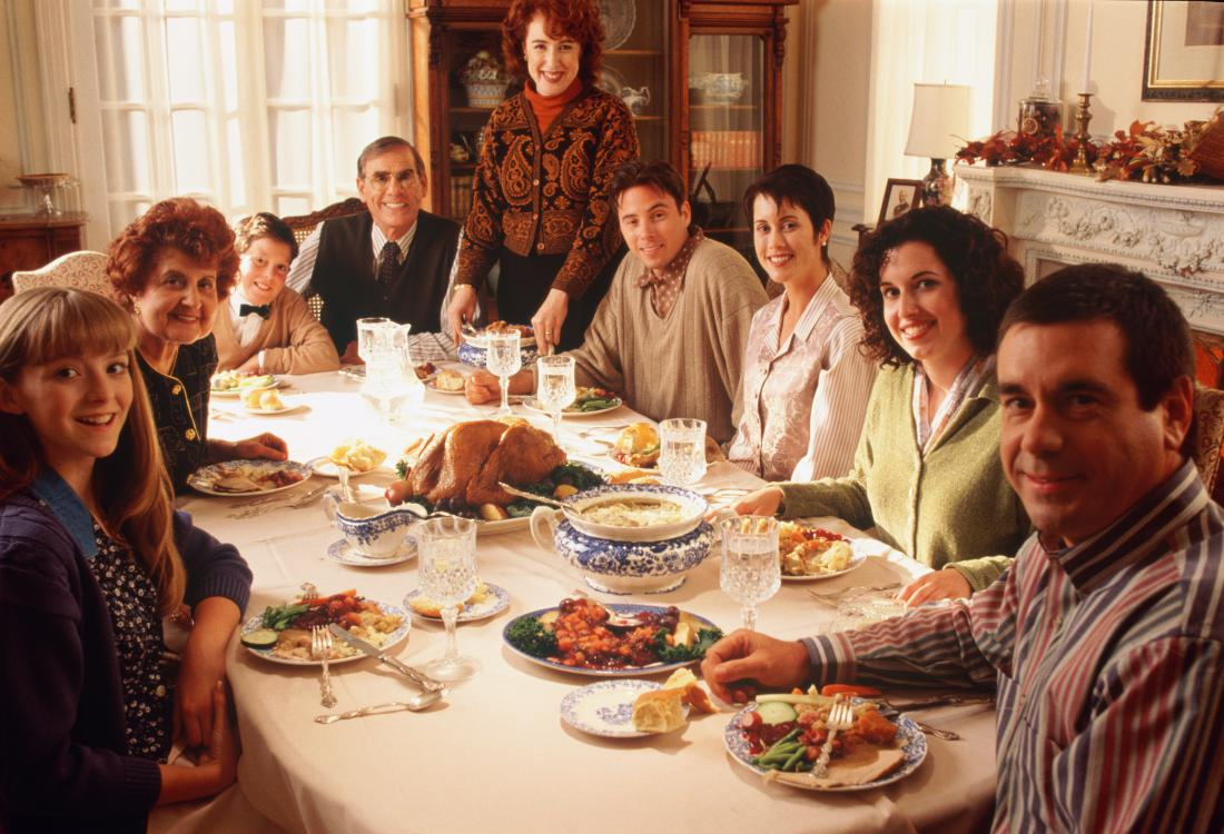 Family Picture Dinner Time Thanksgiving