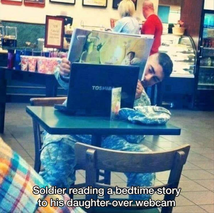 Soldier Reading Bedtime Story