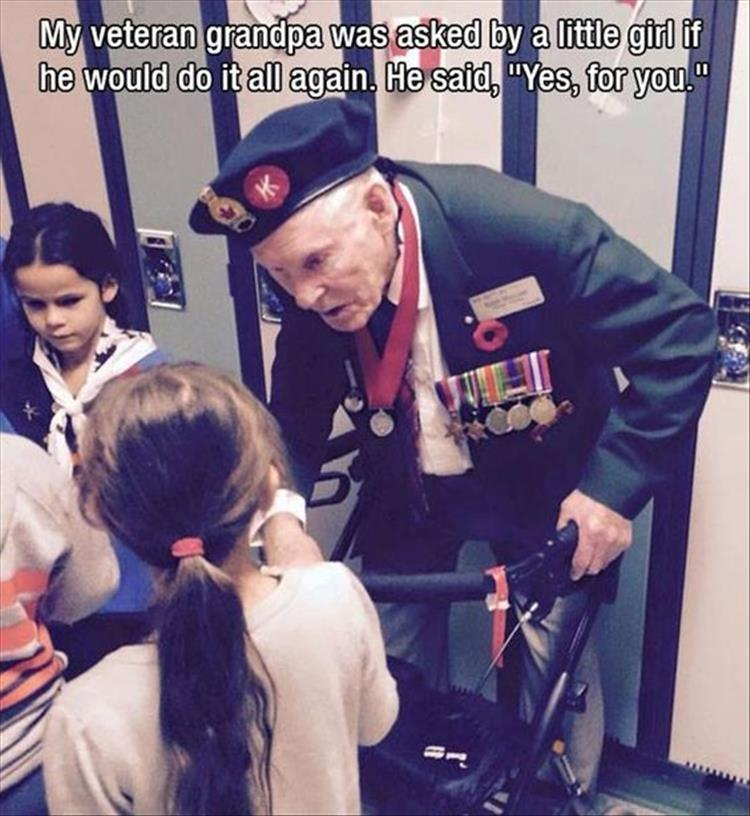 Veteran Speaks to Little Girl