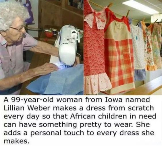Woman Makes Dresses for Children