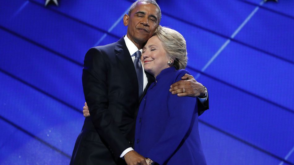 Barack and Hillary Hug It Out