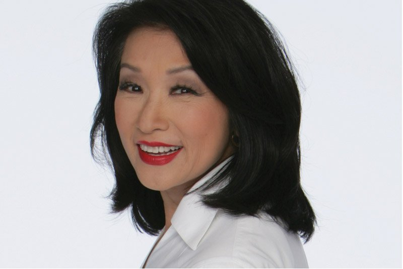 The 71-year old daughter of father William Ling Chung and mother(?), 155 cm tall Connie Chung in 2017 photo