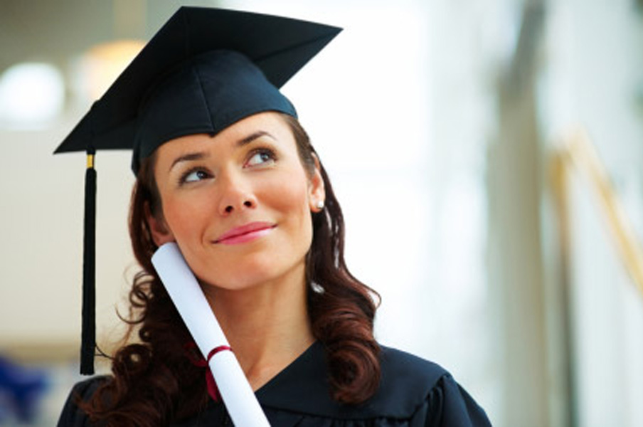 Young female graduate looking