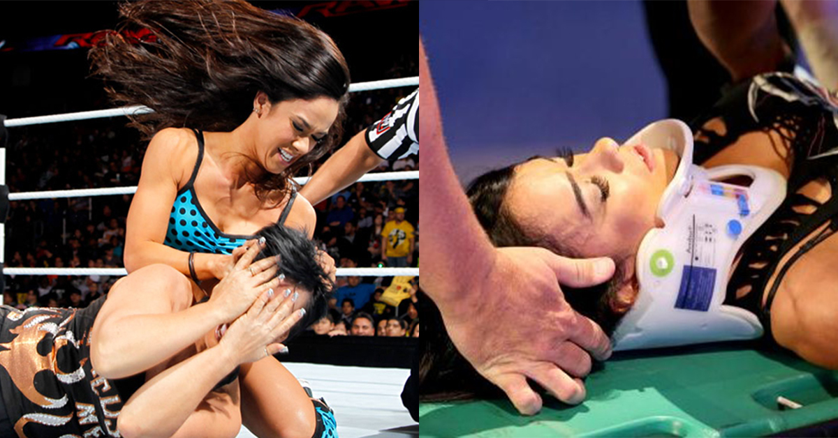 AJ Lee Thrown Off Stage, Knocked Out