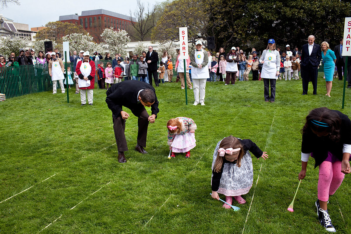 A Race, Bunny Costumes, and Decorative Eggs