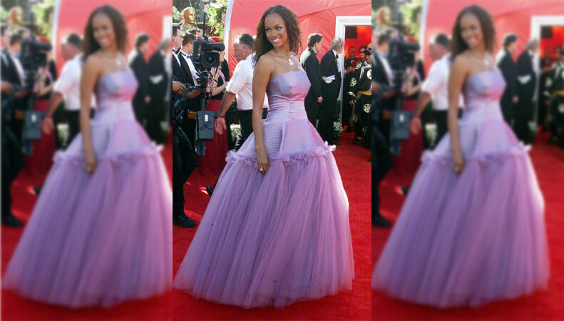 Tyra Banks in a Purple Barbie Dress