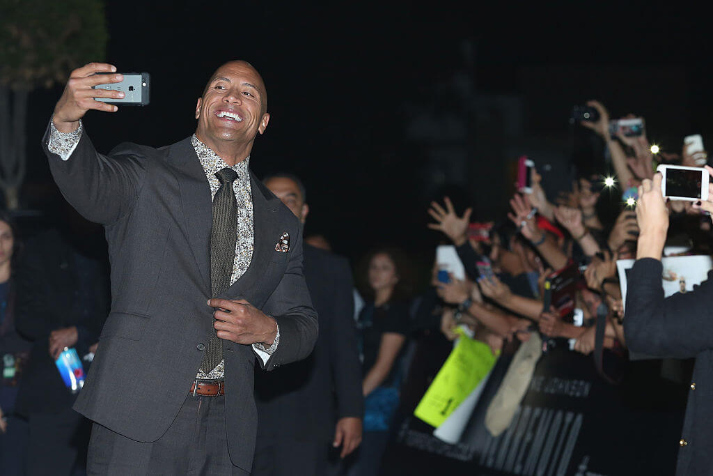 The Rock is Really Good at Selfies