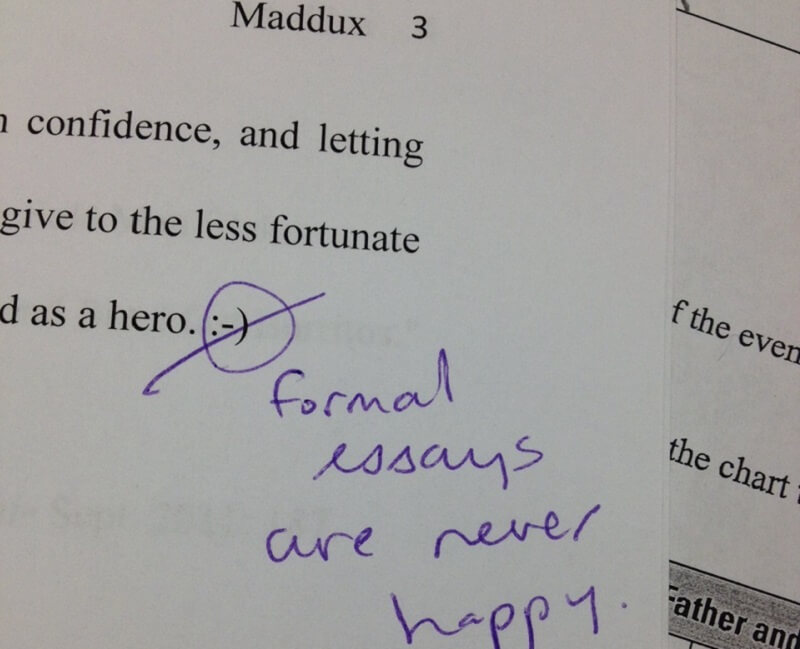 This teacher gives a reminder about what formal essays are supposed to look like!