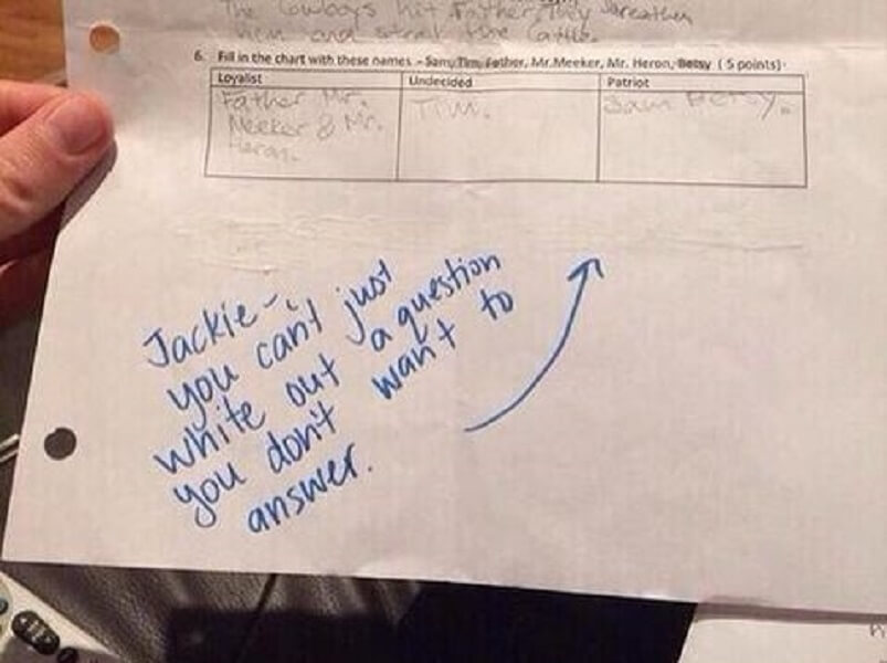 This teacher had to let their student know that exam questions could not be gotten rid of